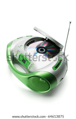 Portable Radio and CD Player on White Background
