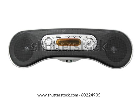 Portable radio cassette recorder with CD/MP3 player under the white background - stock photo