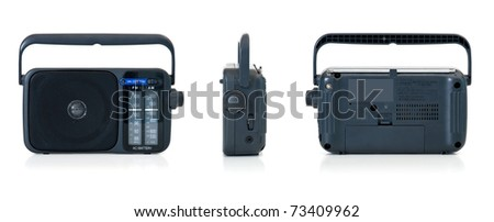 Portable radio over white background. Front, lateral and back view. - stock photo