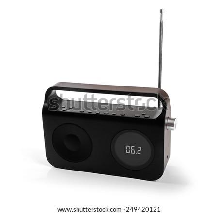 portable radio receiver isolated on white - stock photo