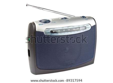 Portable radio set isolated on white background - stock photo