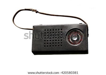 portable retro radio receiver isolated - stock photo