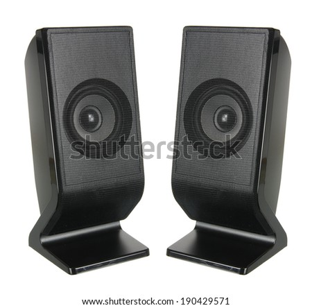 Portable Speakers on White Background - stock photo