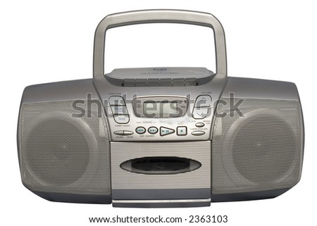 Portable Stereo CD Radio Cassette Recorder; isolated, clipping path included - stock photo