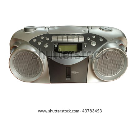 Portable Stereo CD Radio Cassette Recorder isolated with clipping path - stock photo