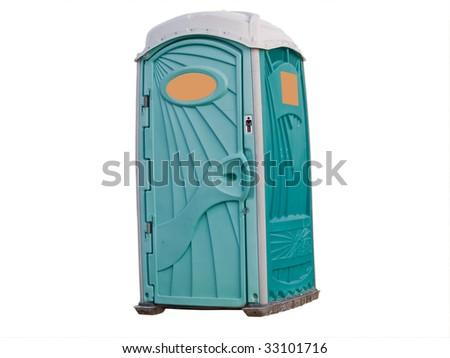 Portable toilet cabin isolated on white. - stock photo
