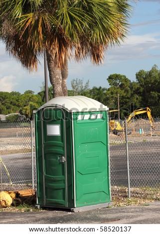 Portable Toilet on construction site - stock photo