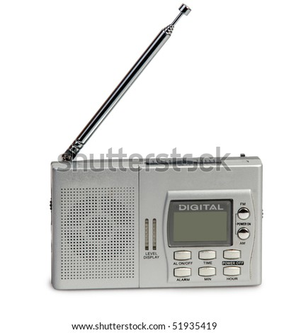 Portable transistor radio receiver on white background - stock photo