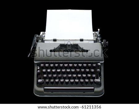 Portable typewriter isolated on black with clipping path
