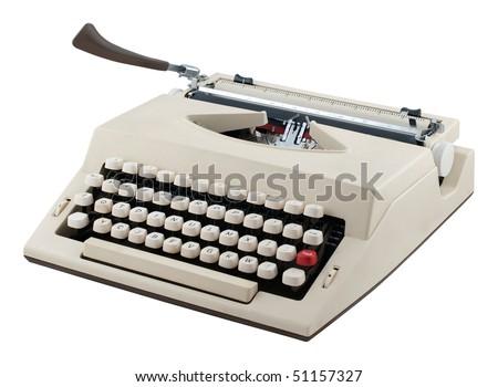 Portable typewriter isolated on white background. - stock photo