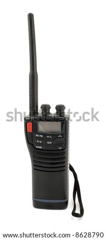 Portable UHF radio transceiver isolated on white background - stock photo