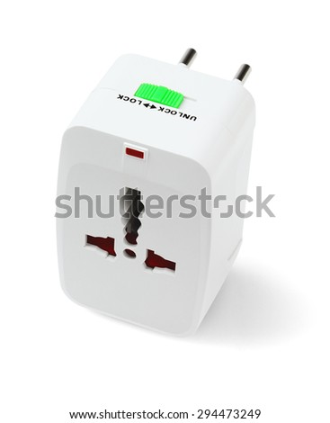 Portable Universal Traveler Adapter on White Background - stock photo