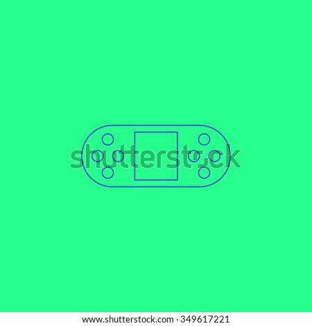 Portable Video Game Console. Simple outline illustration icon on green background