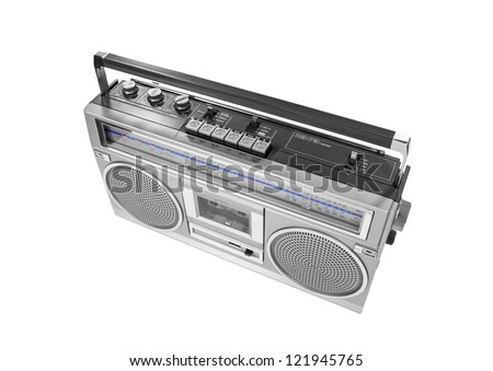 Portable vintage radio cassette recorder isolated with clipping path. - stock photo