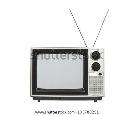 Portable vintage television with antennas up.  Isolated on white. - stock photo