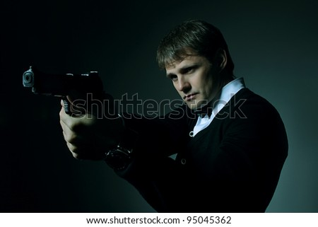 Portait of a gloomy man - stock photo