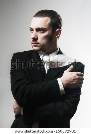 Portait of a handsome young man. Studio fashion shot - stock photo