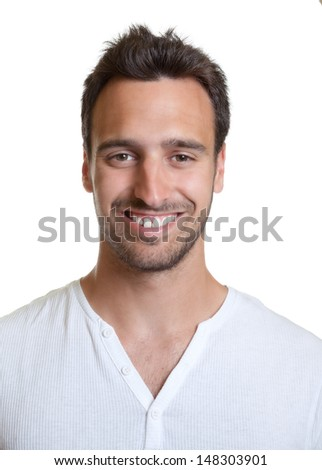 Portait of a laughing latin man - stock photo