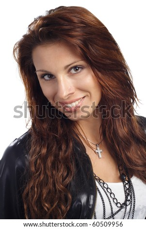 portait of sexy brunet woman posing in jacket close-up - stock photo