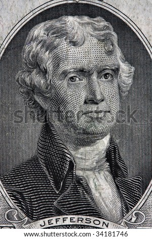 Portait of Thomas Jefferson from the two dollar bill. - stock photo