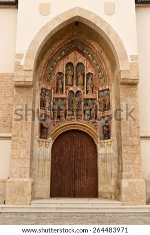 Portal of the St. Mark's church, Zagreb,Croatia - stock photo