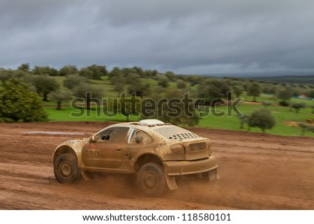 PORTALEGRE, PORTUGAL - NOVEMBER 3: Fernando Andre drives a Renault Megane Proto in BAJA 500, integrated on FIA World Cup for Cross-Country Rallies, in Portalegre, Portugal on November 3, 2012. - stock photo