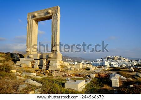 Portara gate, Naxos, Greece - stock photo