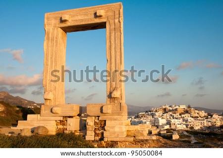Portara gate, Naxos island, Greece - stock photo