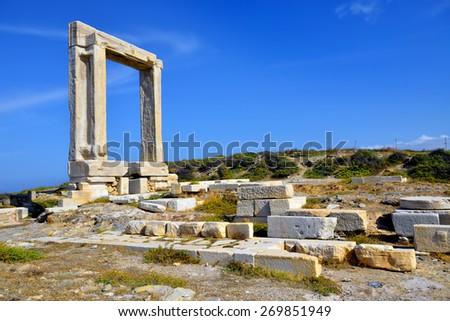 Portata gate, Naxos island in Greece - stock photo