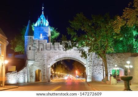 Porte Dauphine gate closeup at night in Quebec City - stock photo