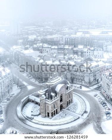 Porte de Paris in Lille under snow - France - stock photo
