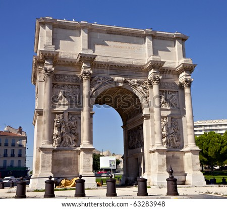 Porte Royale - triumphal arch in Marseille, France. Constructed in 1784 - 1839 - stock photo