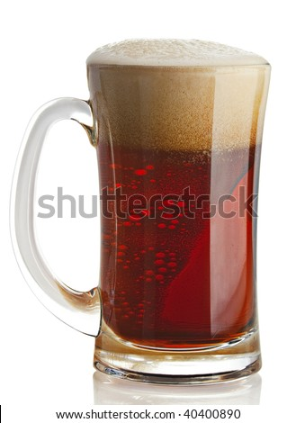 Porter beer closeup in glass dishware on white