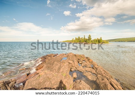Porter's Island and Lake Superior, North Shore Trail, Hunters Point Park, Copper Harbor, MI - stock photo