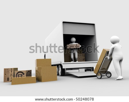 porters at work isolated on white background - stock photo