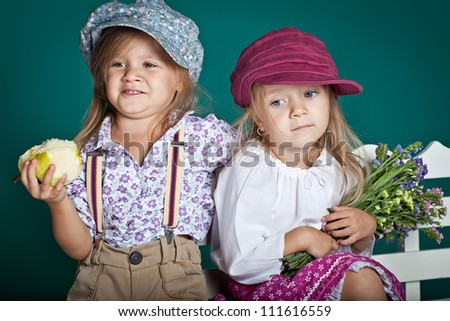 Portert two sisters - stock photo