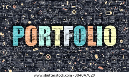 Portfolio Concept. Modern Line Style Illustration. Multicolor Portfolio Drawn on Dark Brick Wall. Doodle Icons. Doodle Design Style of  Portfolio Concept. Portfolio on Dark Brick Wall. Portfolio.