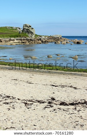 Porth Hellick beach, St. Mary's Isles of Scilly. - stock photo