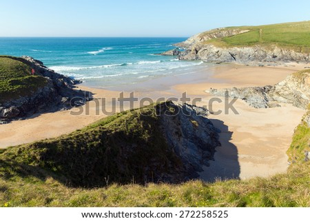 Porth Joke beach next to Crantock bay Cornwall England UK near Newquay and on South West Coast Path also known as Polly Joke in spring with blue sea and sky - stock photo