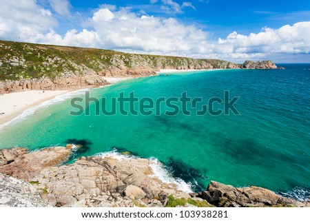 Porthcurno Beach and Treen Cliffs from the coastpath near the Minack Cornwall England UK