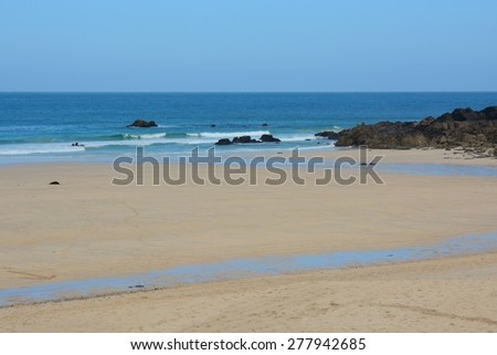 Porthmeor Beach at Saint Ives, Cornwall, England. Low tide - stock photo