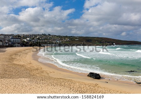 Porthmeor beach St Ives Cornwall England known for surfing and Tate art gallery - stock photo