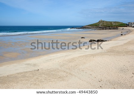 Porthmeor sandy beach in St. Ives, Cornwall UK. - stock photo