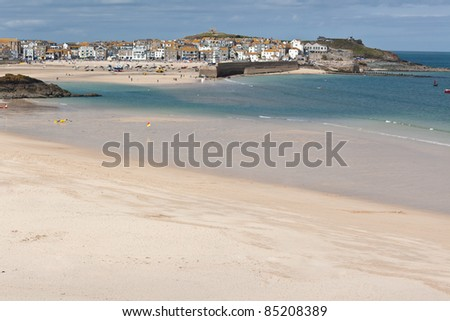 Porthminster Beach in St Ives Cornwall - stock photo