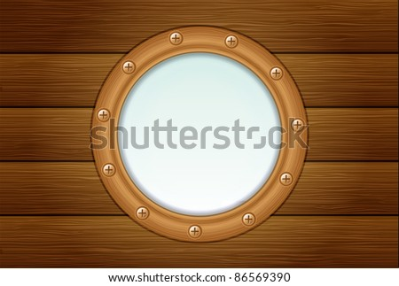 porthole on wooden background