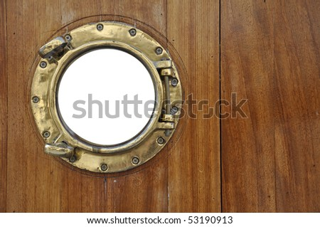porthole with isolated window for placing your individual graphic - stock photo
