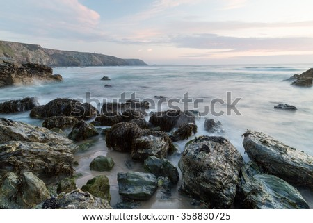 Porthtowan beach in cornwall england uk