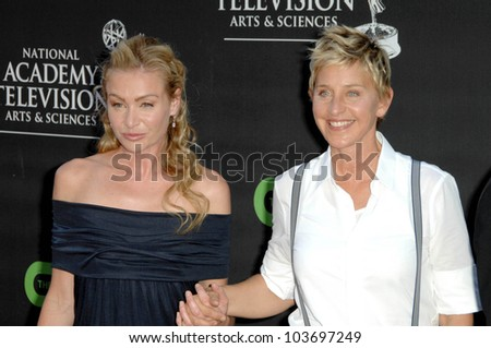 Portia de Rossi and Ellen DeGeneres  at the 36th Annual Daytime Emmy Awards. Orpheum Theatre, Los Angeles, CA. 08-30-09 - stock photo