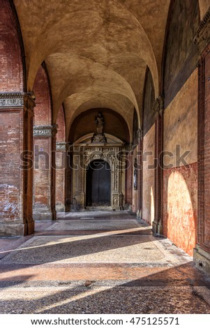 Portici of Bologna. A covered walkway in the center of the city