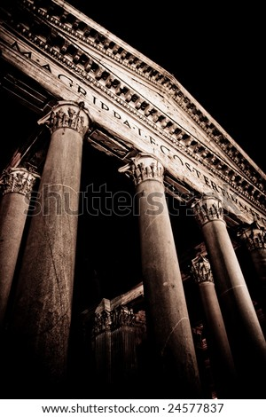 Portico of the Pantheon in Rome - stock photo